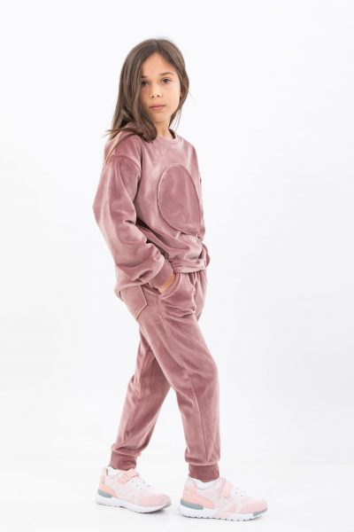 Pantaloni soft pink velvet
